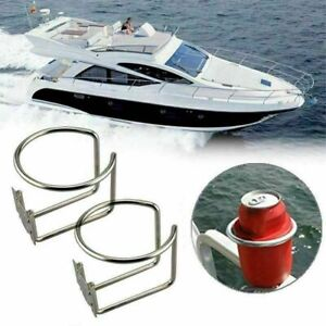 2pcs Marine Boat Ring Cup Holder Drink Bottle Stand Mount Atv Stainless Steel Us