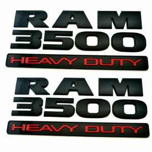 New 2 Both Oem Matte Black Dodge Ram 3500 Heavy Duty Emblem Badges 3d Decal