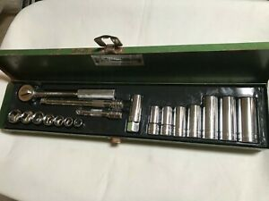 S k Tools 3 8 Drive Ratchet Deep Shallow Socket Set Metal Box Usa 19 Pieces Sk