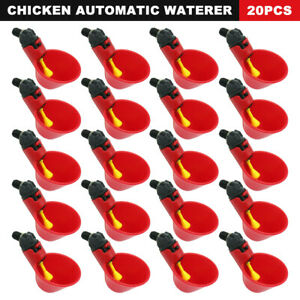 20pc Poultry Water Waterer Chicken Hen Drinking Cups Plastic Automatic Drinker