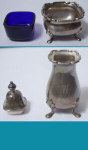 English Sterling Silver Salt Pepper By Cartier Shaker Cellar Cobalt Liner