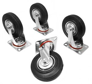 Wen Ca5225w 5 inch 220 pound Capacity Rubber Swivel Plate Caster 4 pack