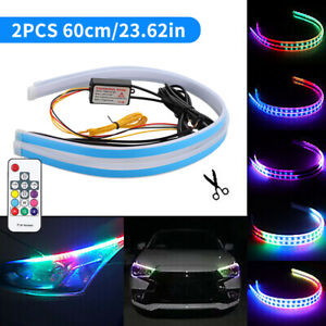 24 Rgb Sequential Flexible Led Lamp Drl Turn Signal Strip Multi Color Remote