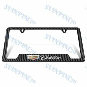 1pcs For Cadillac Carbon Fiber Look License Plate Frame Abs Laser Style Logo New
