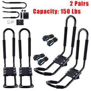 2pairs Canoe Boat Kayak Roof Rack Car Suv Truck Top Mount Carrier J Cross Bar Us