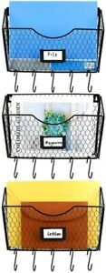 Pag 3 Pockets Hanging File Holder Wall Mount Mail Organizer Metal Chicken Wire M
