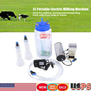 Portable Electric Milking Machine Vacuum Pump 2l Botttle For Farm Cow Sheep Goat