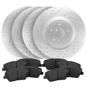 For 2013 2014 Ford Mustang Front rear Drill Slot Brake Rotors Ceramic Pads