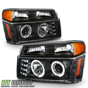 Black 2004 2012 Chevy Colorado Canyon Led Halo Projector Headlights Bumper Lamps