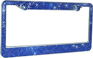 1 Luxury Blue Diamond Crystal License Plate Frame Caps Made With Swarovski Bling