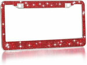 1 Luxury Red Diamond Crystal License Plate Frame Caps Made With Swarovski Bling