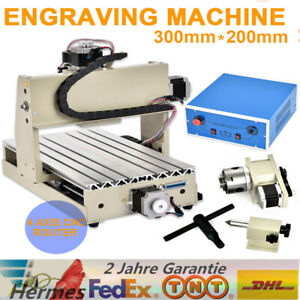 4 Axis Cnc 3020 Router Engraving Drilling Milling Wood Metal Machine 3d 300w De