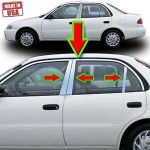 Chrome Pillar Trim For Toyota Corolla 98 02 6pc Set Door Cover Mirrored Post