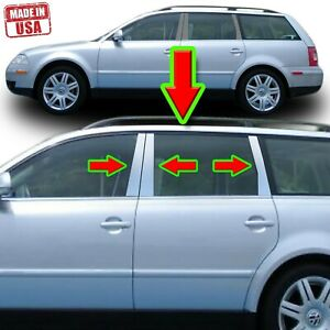 Chrome Pillar Trim For Volkswagen Passat 4dr 5dr 98 05 3bg B5 6pc Set Door