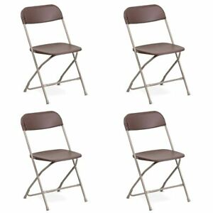 4 pack Brown Plastic Folding Chair Tentandtable Commercial Wedding Party Chairs