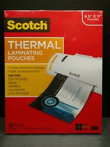 Scotch Thermal Full sheet Laminating Pouches 50 Count 8 9 X 11 4 New T60