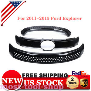 Upper Lower For 2011 2015 Ford Explorer Grille Overlay Front Grill Cover Front