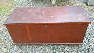 Primitive Antique Country Paint Decorated Blanket Chest