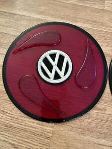 Vintage Volkswagen Vw Red Clear Wheel Covers 10 Diameter Beetle Bug Bus