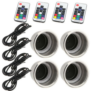 4pcs 14 Led Stainless Steel Cup Drink Holder 3w Marine Boat Car Truck Rv