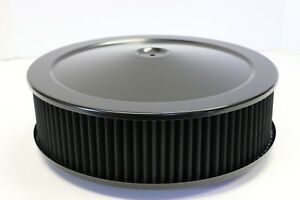 14 X 4 Round Black Washable Black Air Cleaner Assembly Drop Base Sbc 350 Bbc