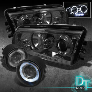 Smoked 2006 2010 Dodge Charger Projector Headlights halo Projector Fog Lights
