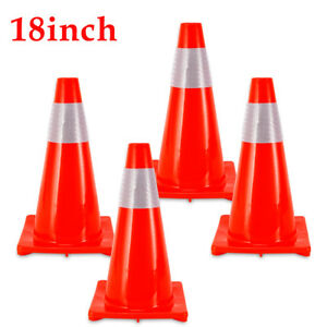 4pcs 18 Road Traffic Cones With Fluorescent Reflective Safety Parking Cones Us