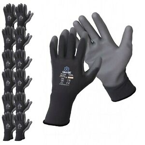 Glovbe 12 Pairs Polyester Work Gloves Gardening Mechanic Construction Safety