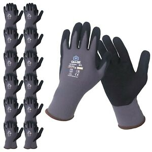 Glovbe 12 6 3 Pairs Mechanic Nylon Work Gloves With Grip Oil Gas Resistant