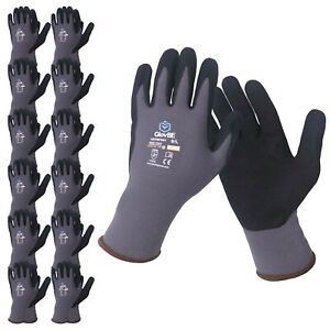 Glovbe 12 Pairs Mechanic Nylon Work Gloves With Grip Oil Gas Resistant