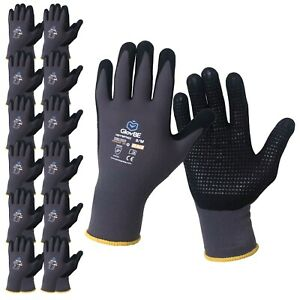 Glovbe 12 Pairs Pairs Mechanic Nylon Work Gloves With Grip Oil Gas Resistant