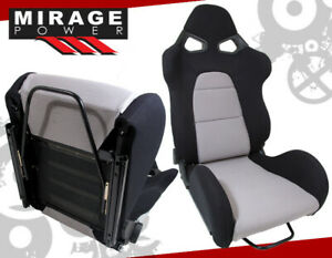 Full Reclinable Style Racing Seat For Drag Track Circuit Drift Show Black Gray