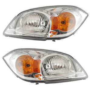 Front Headlights Pair Set For 05 10 Chevy Cobalt w o Bracket Left Right