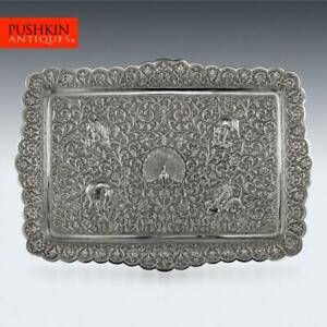 Antique 19thc Indian Cutch Solid Silver Salver Tray Oomersi Mawji C 1880