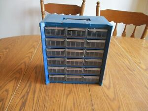 Vintage Metal Plastic Top Bottom 18 Drawer Nut bolt Small Parts Storage Cabinet