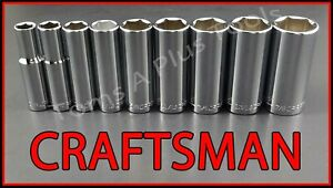 Craftsman Hand Tools 9pc Lot 3 8 Dr 6pt Deep Sae Ratchet Wrench Socket Set