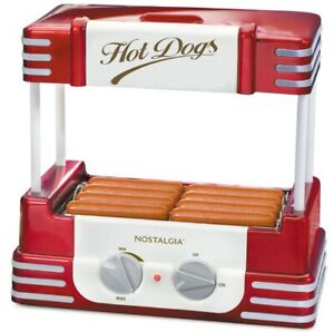 Nostalgia Retro Red Electric Hot Dog Roller Bun Warmer Hdr8rr