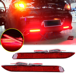 2x Red Lens Led Rear Bumper Reflector Lights Taillight For Toyota Sienna Venza