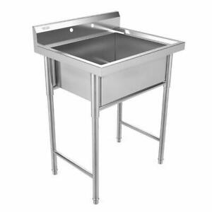 30 Stainless Steel Utility Commercial Kitchen Deep Sink For Dish Cleaning New