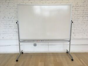 Claridge Lcs56 Magnetic Mobile 4ft X 6ft Reversible Whiteboard On Stand