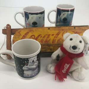 Lot of 5 Coca Cola Collectibles Vintage Rare Wooden Sled  Bear Plush  Mugs