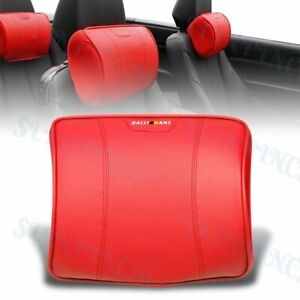X1 Red Leather Car Seat Memory Foam Neck Rest Cushion Pillow Mitsubishi Ralliart