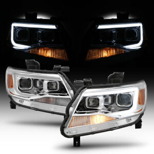 2015 2019 Chevy Colorado Dual Projector Headlights W Led Light Bar Left Right