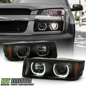 2002 2006 Chevy Avalanche 1500 2500 Black Smoke Led Halo Projector Headlights