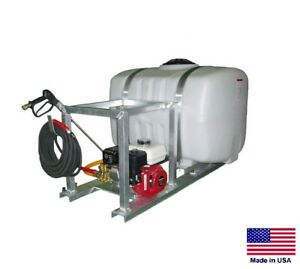 Pressure Washer Commercial Skid Mounted 3 Gpm 2500 Psi 100 Gallon Tank