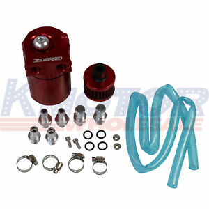 Oil Catch Can Tank Reservoir Breather W filter Kit Cylinder Aluminum Engine Red