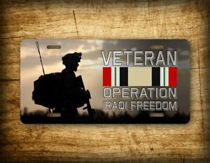 Operation Iraq Freedom Veteran License Plate Us Military Army Auto Tag