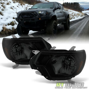 For 2012 2013 2014 2015 Toyota Tacoma Black Smoke Headlights Lamps Left Right