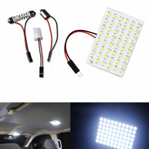10x White 48smd Panel Led Festoon T10 Ba9s Adapter Interior Dome Map Light Bulbs