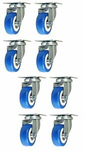 8 Pack 2 Inch Caster Wheels Swivel Plate On Blue Polyurethane Wheels Pu